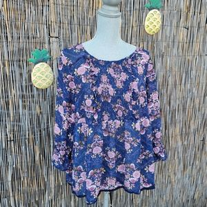 Boho floral peasant long sleeve scrunch scoop neck top size XL